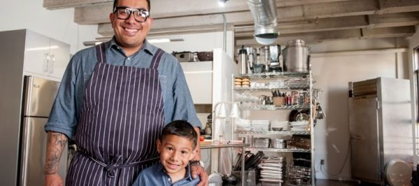 Chef Aaron J. Perez Cooking with His Son