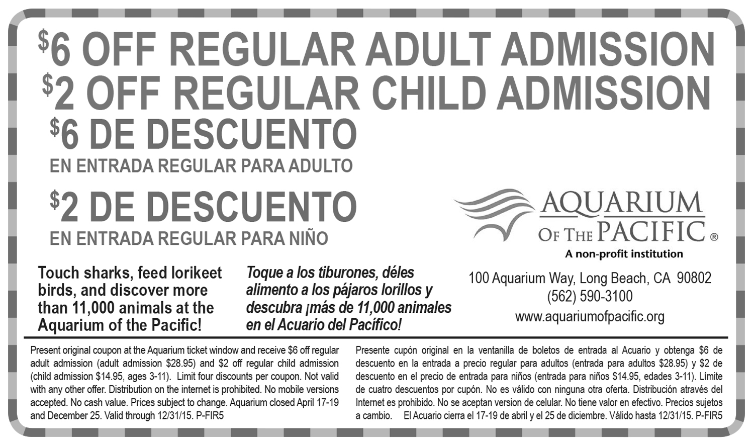 picture regarding Aquarium of the Pacific Coupons Printable identified as Coupon codes and Companions Very first 5 LA: Mother and father Household