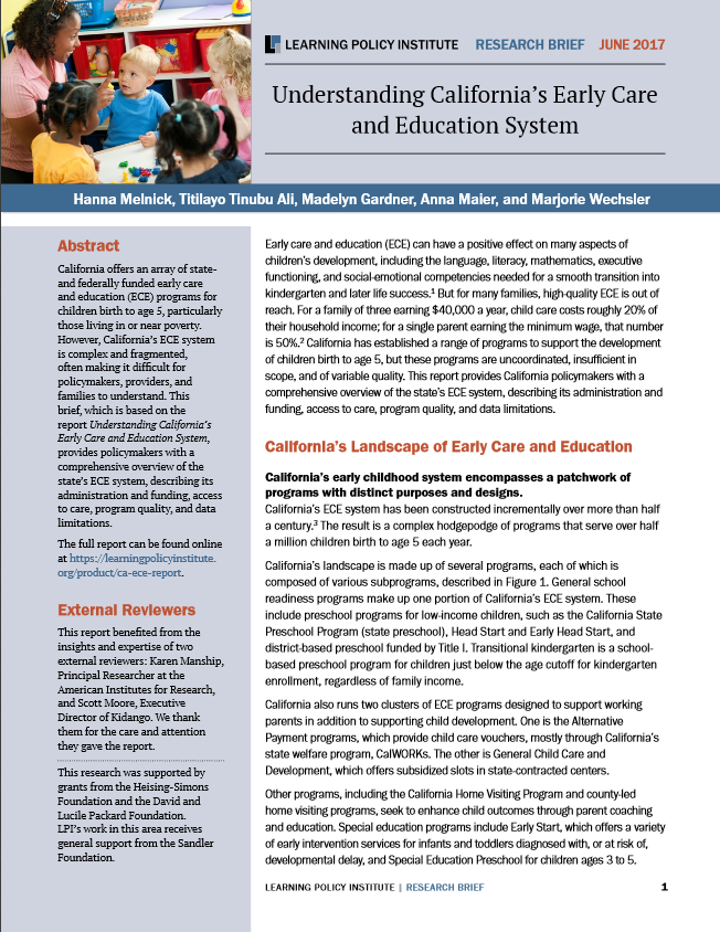 Understading California's Early Care and Education System