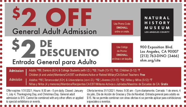 $2 Off Natural History Museum Adult Admission