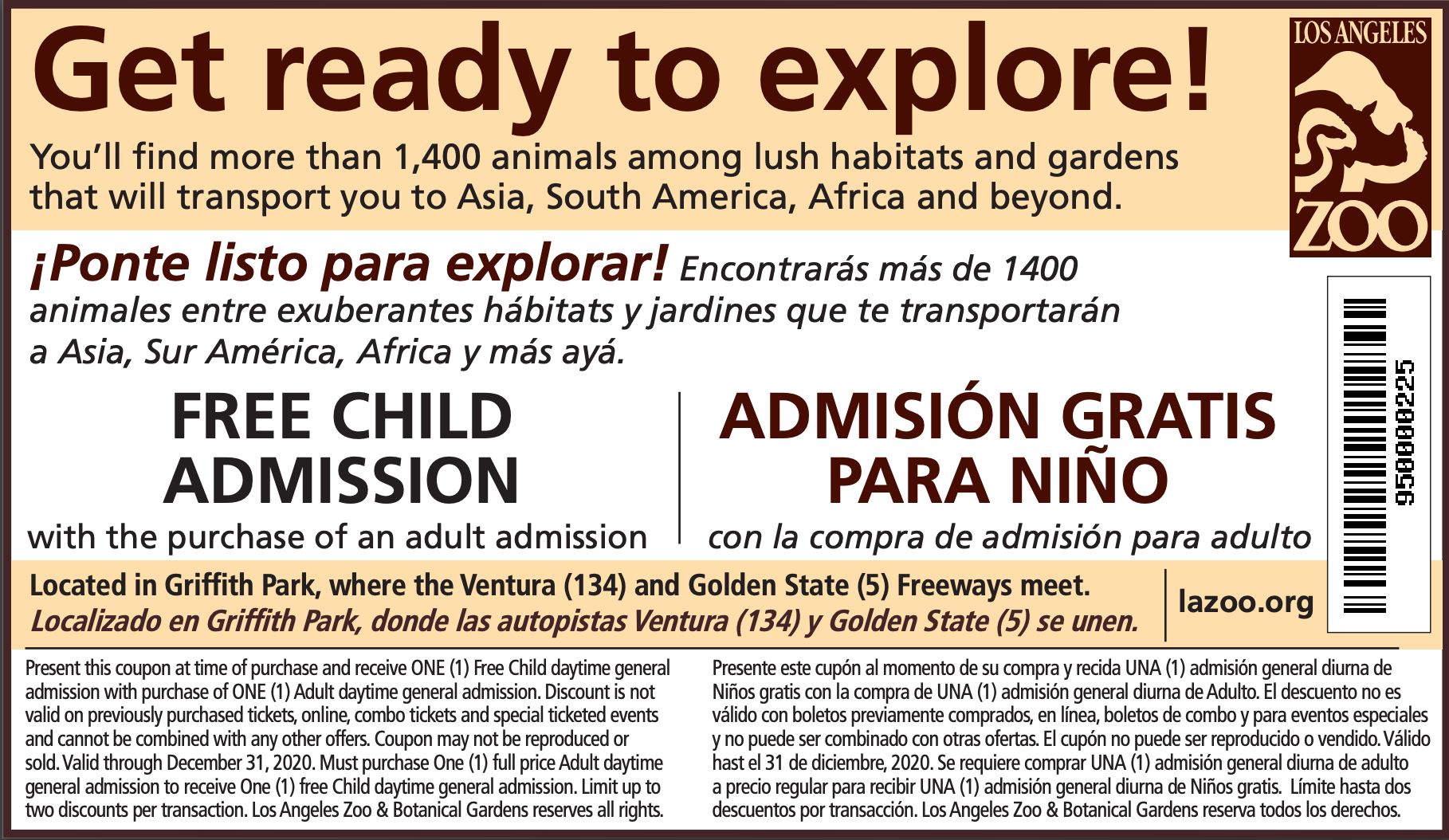 ONE (1) Free Child daytime general admission with purchase of ONE (1) Adult daytime general admission to the L.A. Zoo