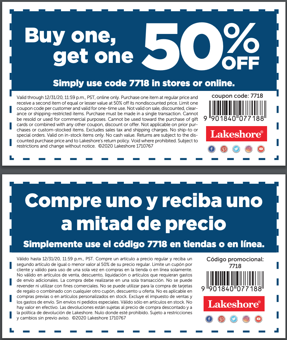 Lakeshore Learning Store – Buy one get one 50% off
